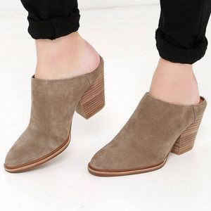 Steve Madden Miilo Taupe Suede Leather Mules